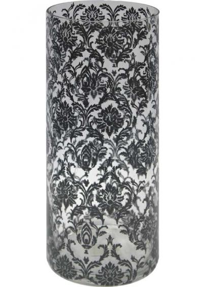 Váza s čiernym vzorom (sklo)