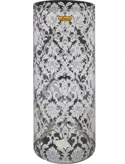Váza s bielym vzorom (sklo)