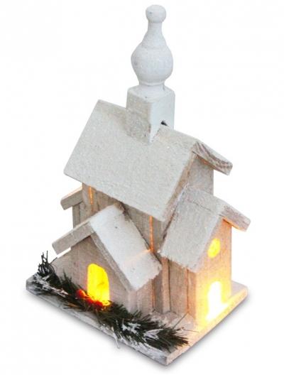 Zasnežený vianočný domček (širší nízky)