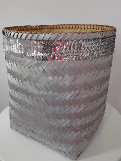 Kôš bambusový strieborný s flitrami (kruh veľký)