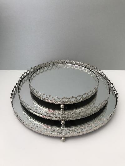 Kovové zrkadlové tácky set