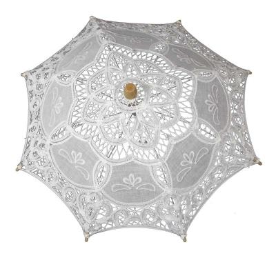 Čipkovaný dáždnik biely (mini)