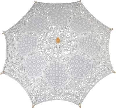 Čipkovaný dáždnik biely (malý)