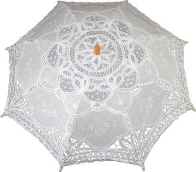 Čipkovaný dáždnik biely (stredný)