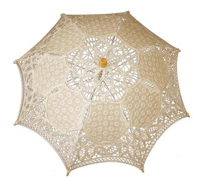 Čipkovaný dáždnik béžový (malý)
