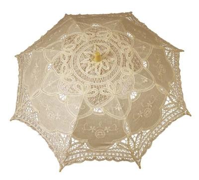 Čipkovaný dáždnik béžový (stredný)