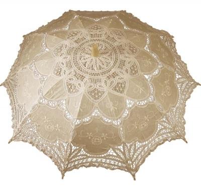 Čipkovaný dáždnik béžový (veľký)