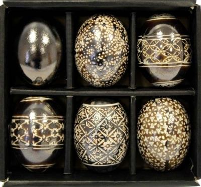 Sada keramických vajíčok (zadymená farba)