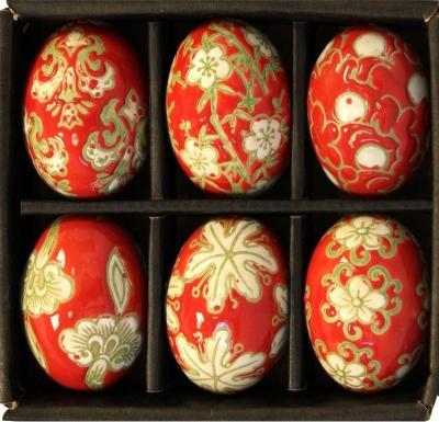 Sada keramických vajíčok (červená)