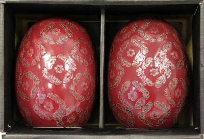 Keramické vajce (bordová)