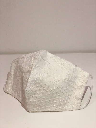 Rúško biele s čipkou